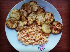 Brown Rice with Vegetables and Fried Zucchini