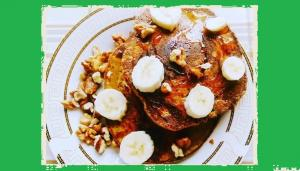 Gluten Free American Banana Pancakes with Honey and Walnuts