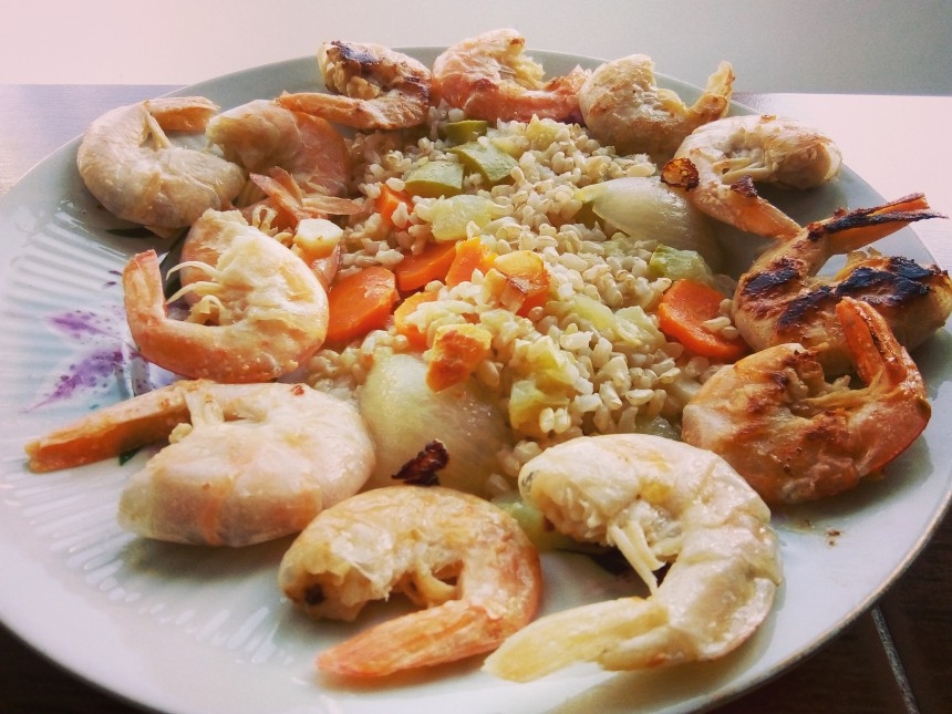 Fried Shrimps With Brown Rice