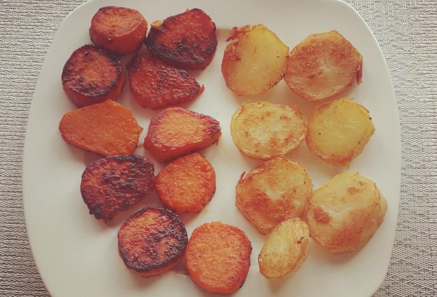Sweet Potatoes and White Potatoes Fries