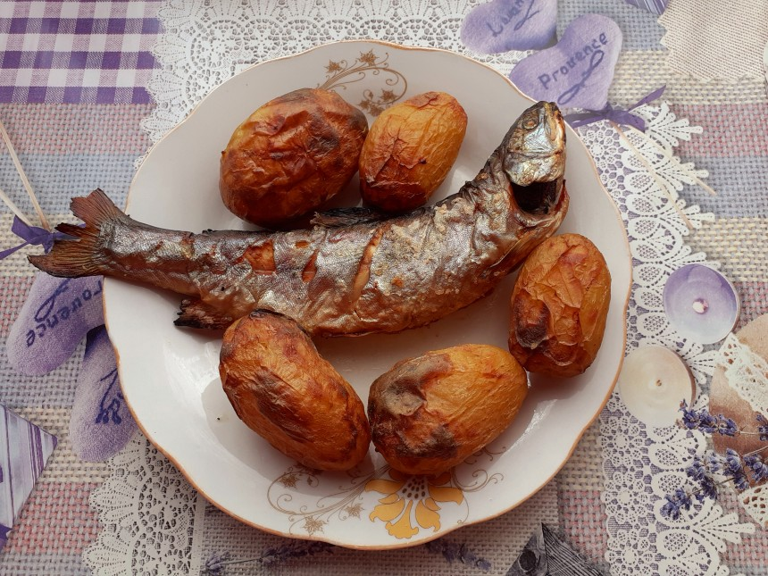 Grilled Trout with Roast Potatoes