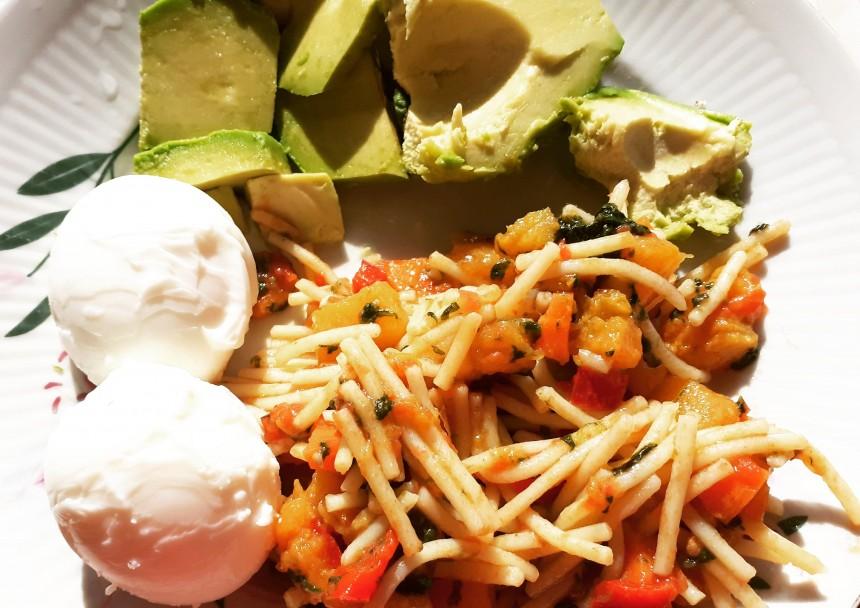 Delicious Brunch with Avocado, Eggs and Corn Spaghetti