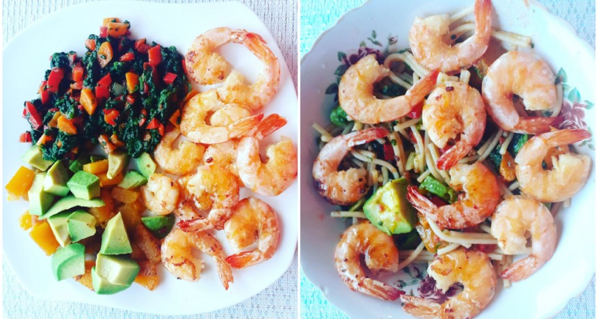 Gluten Free Pasta with Shrimps, Spinach and Avocado